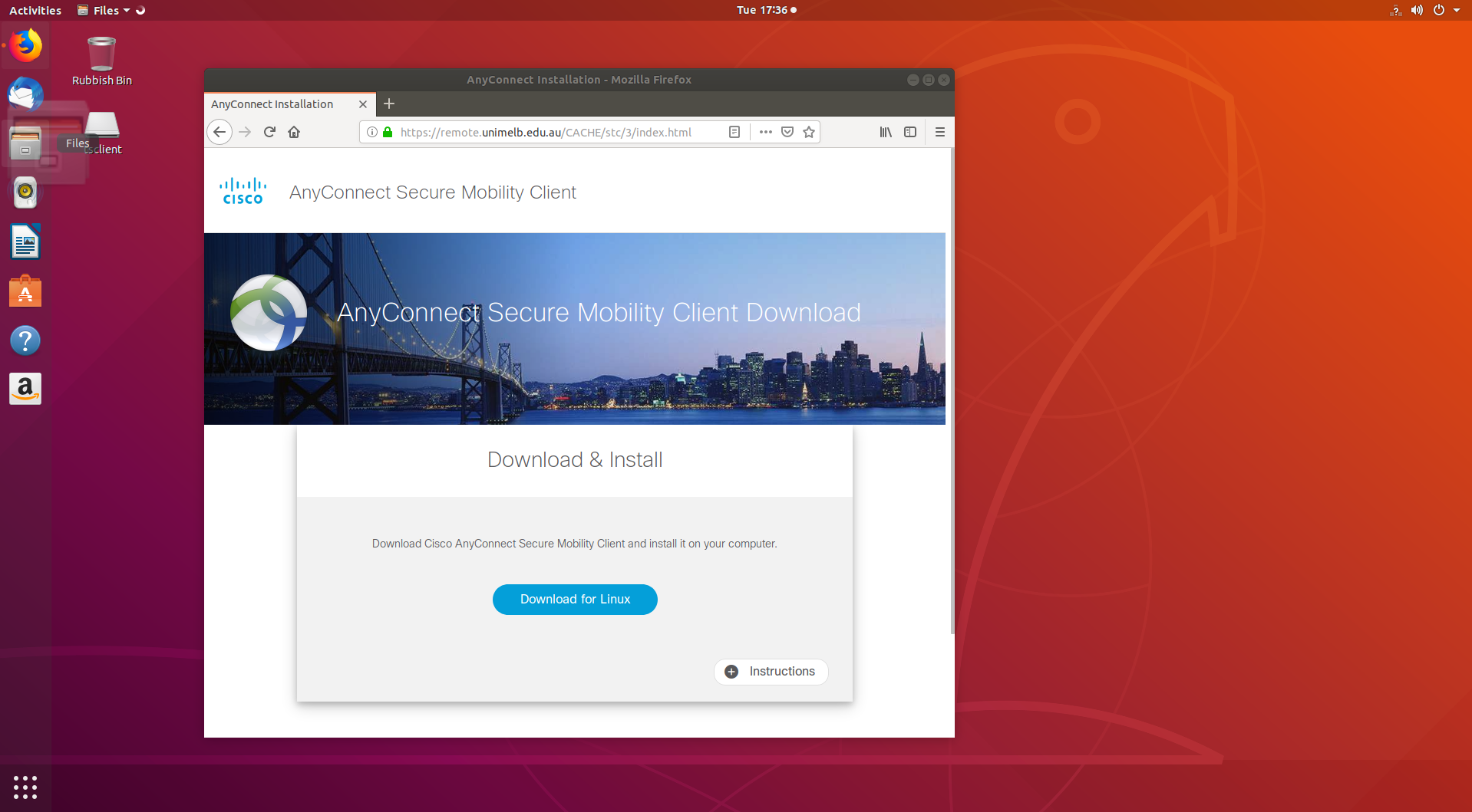 Install and Configure AnyConnect on Ubuntu for Unimelb Cisco